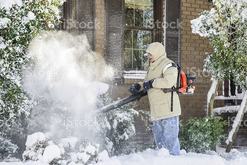 man blowing snow off shubbery. stock photo