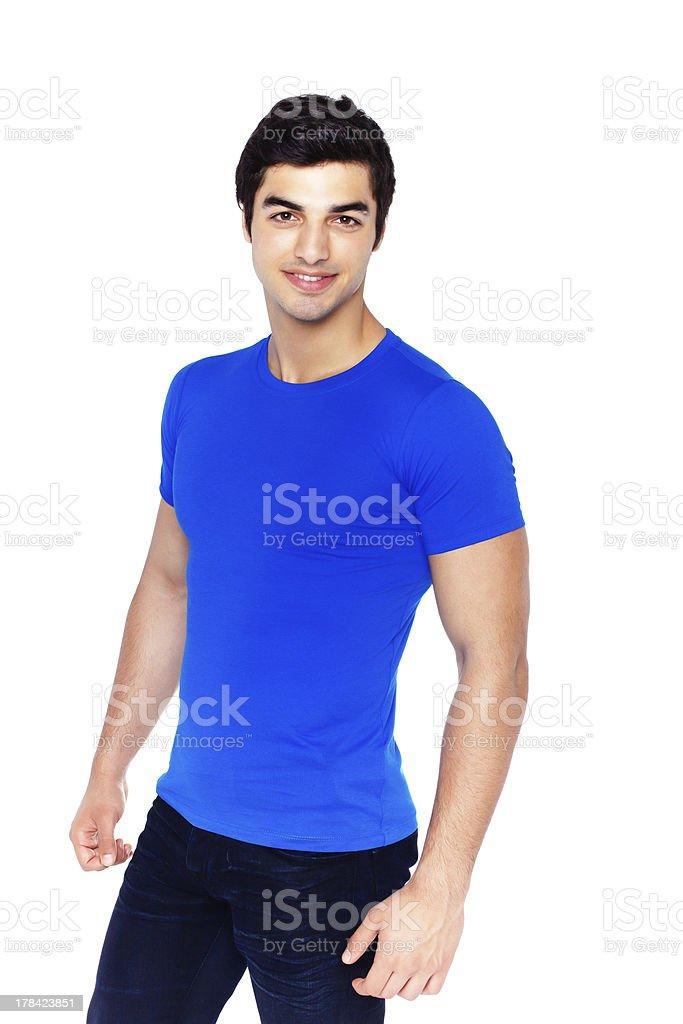Man blue t-shirt royalty-free stock photo