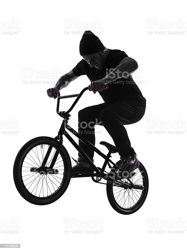 man bmx acrobatic figure silhouette royalty-free stock photo