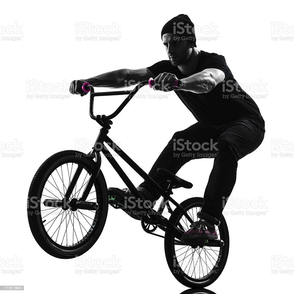 man bmx acrobatic figure silhouette royalty-free stock photo