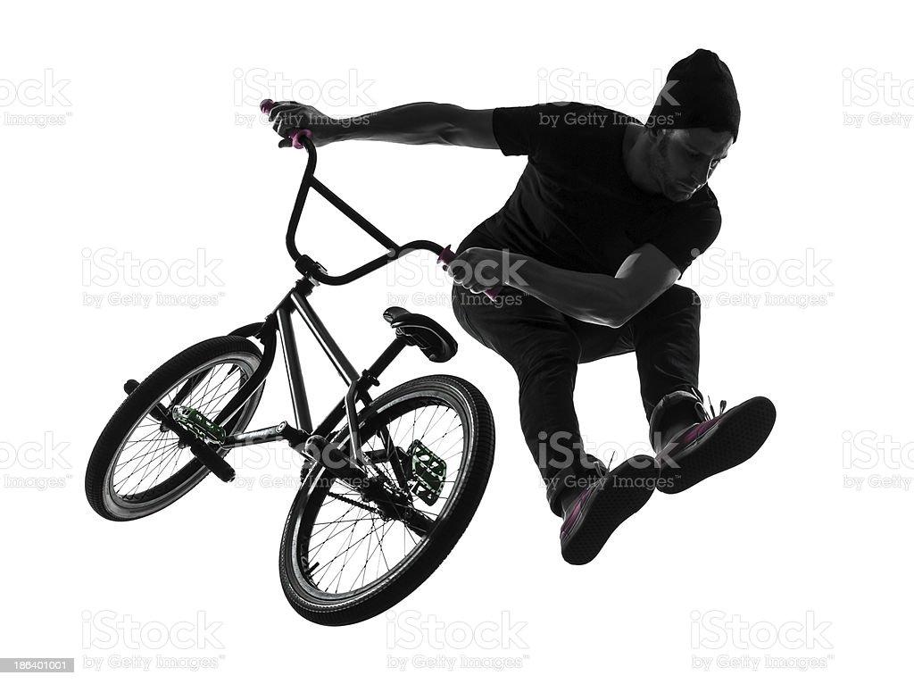 man bmx acrobatic figure silhouette stock photo