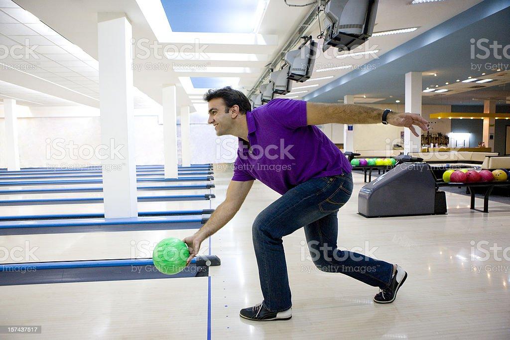 Man bowling stock photo