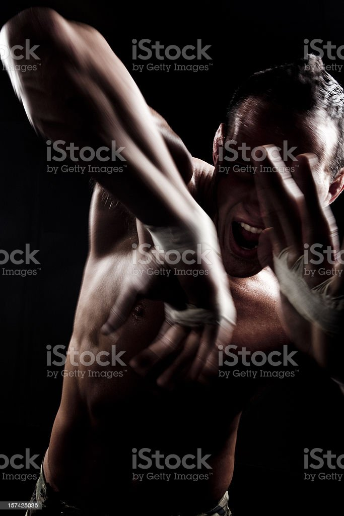 Man Boxing Elbow Strike royalty-free stock photo