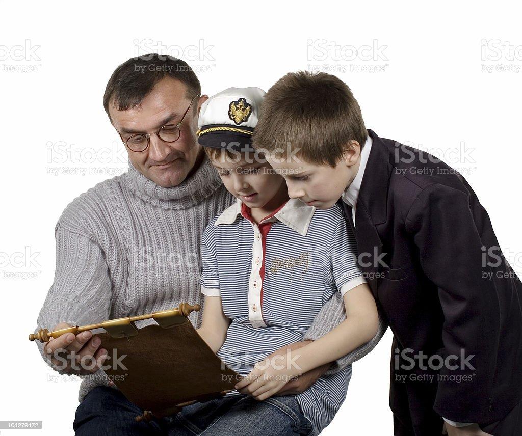 man & boys royalty-free stock photo