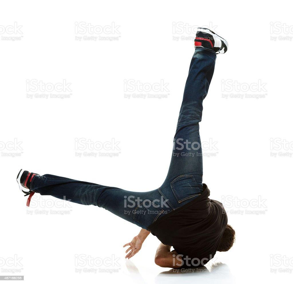 Man breakdancing stock photo