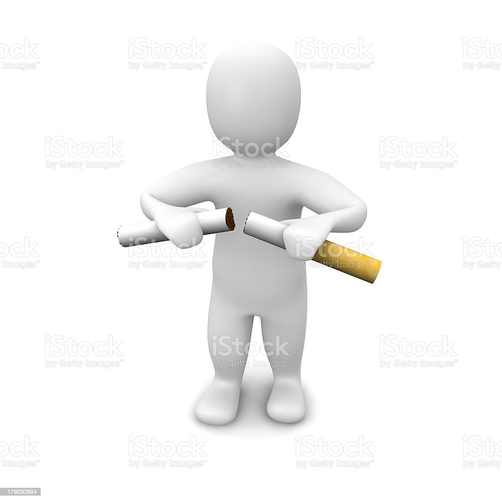 Man breaking cigarette royalty-free stock photo