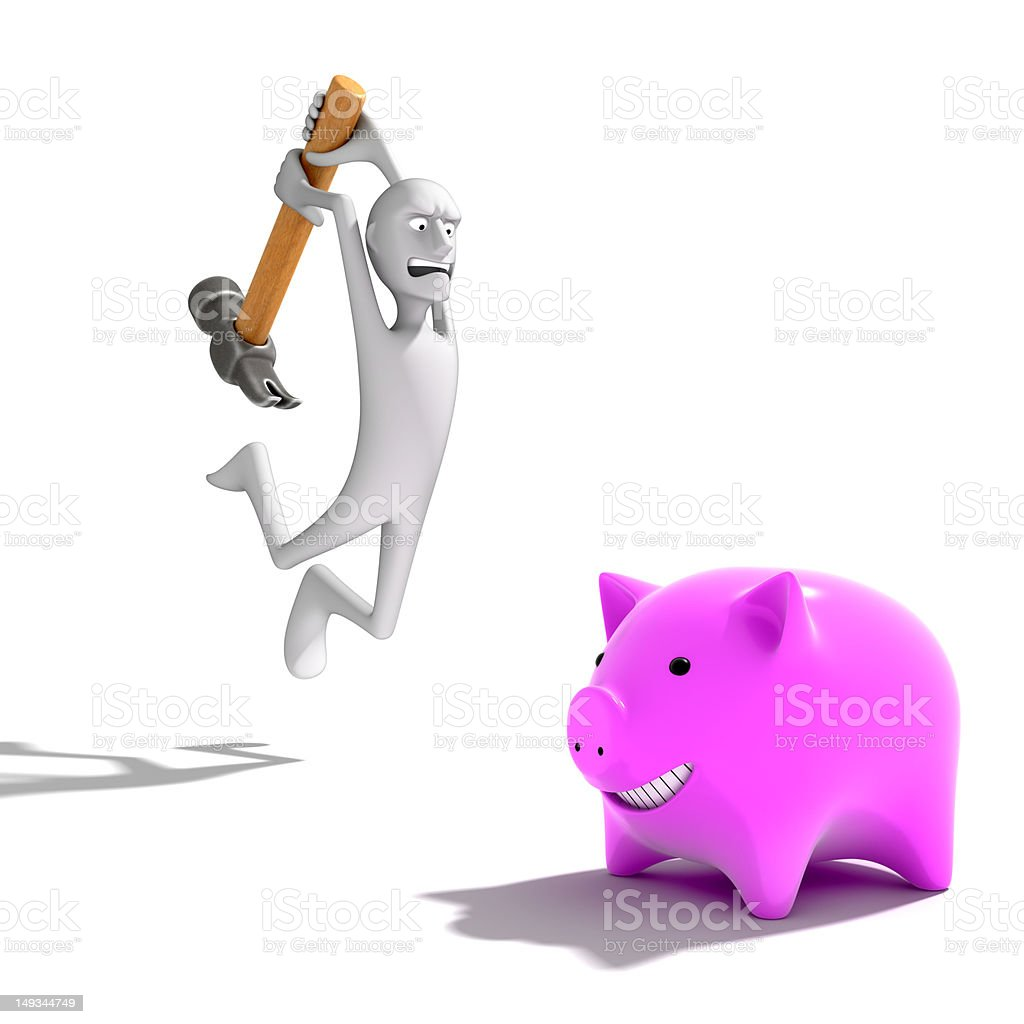 Man breaking piggy bank royalty-free stock photo