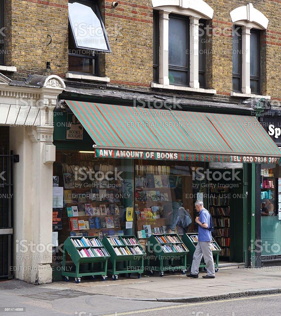 Man Browsing at Independent Book Shop, London stock photo