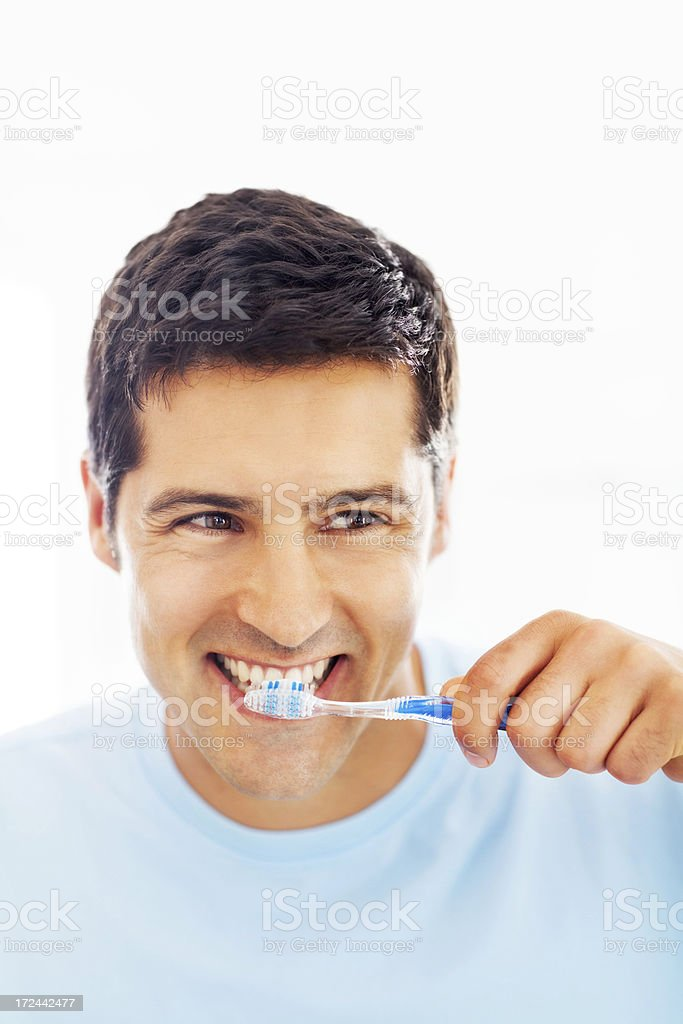 Man Brushing Teeth royalty-free stock photo