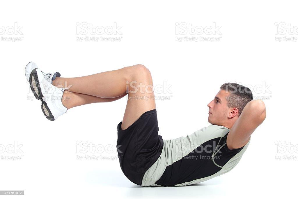 Man building abdominals royalty-free stock photo