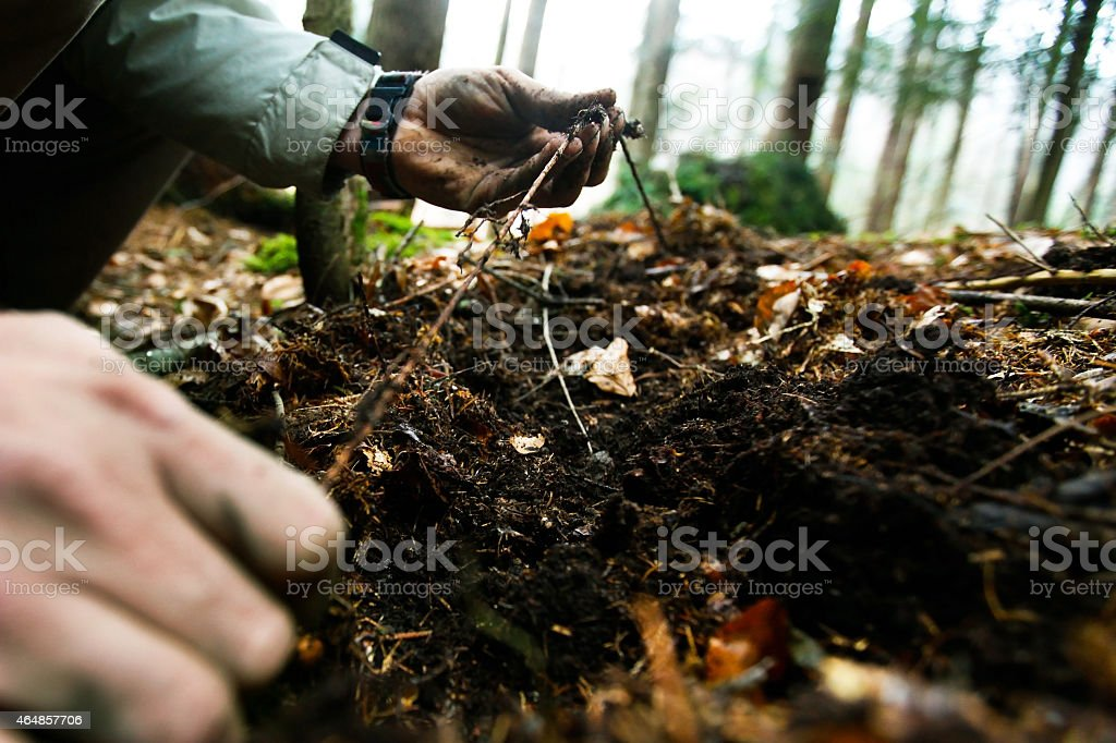 Man building an emergency shelter stock photo
