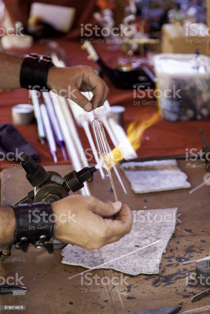 Man burning crystal stock photo