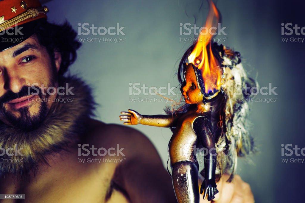Man Burning Doll royalty-free stock photo