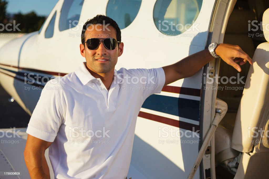 Man by Airplane royalty-free stock photo