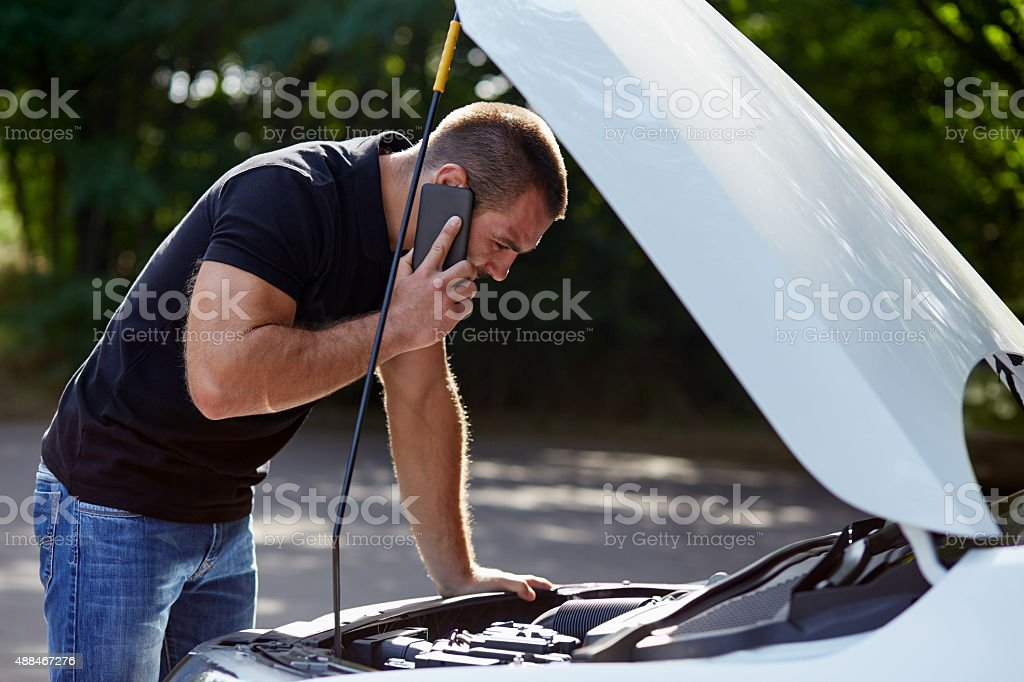 Man calling for help stock photo