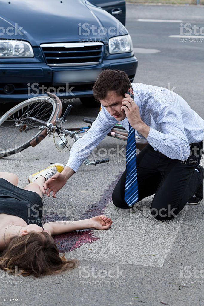 Man calling the emergency service stock photo