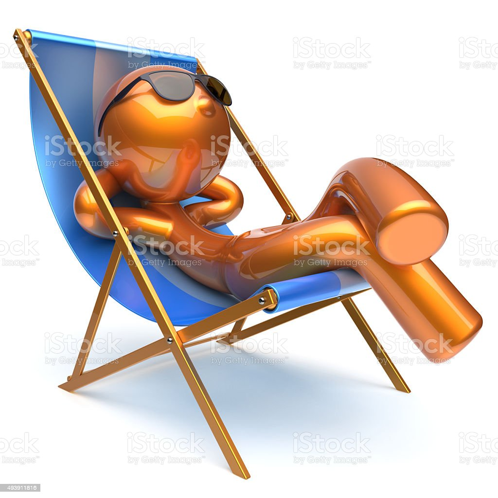 Man carefree relaxing chilling beach deck chair outdoor icon stock photo