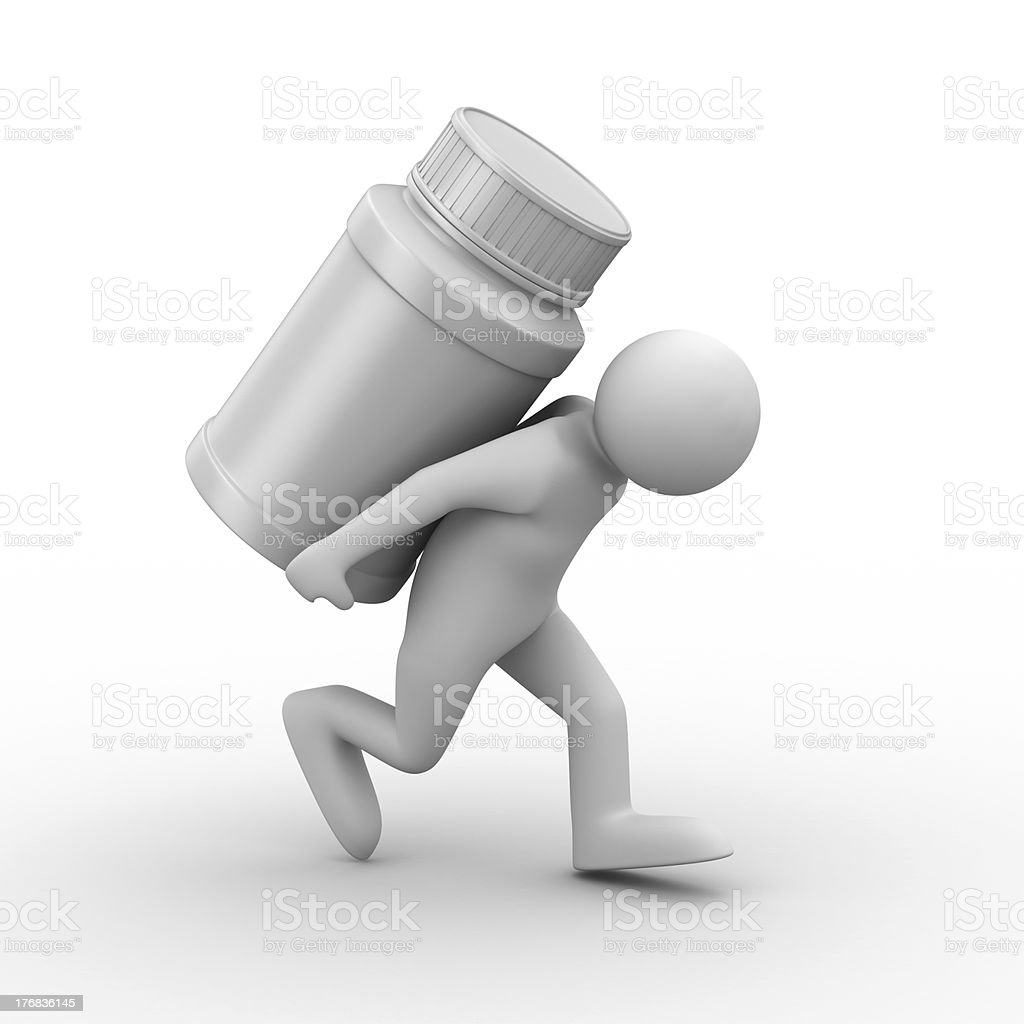 man carry bottle for tablets. Isolated 3D image royalty-free stock photo