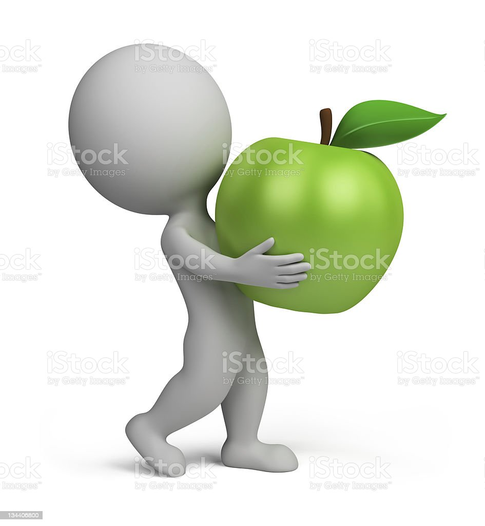 3D man carrying a large, green apple royalty-free stock photo