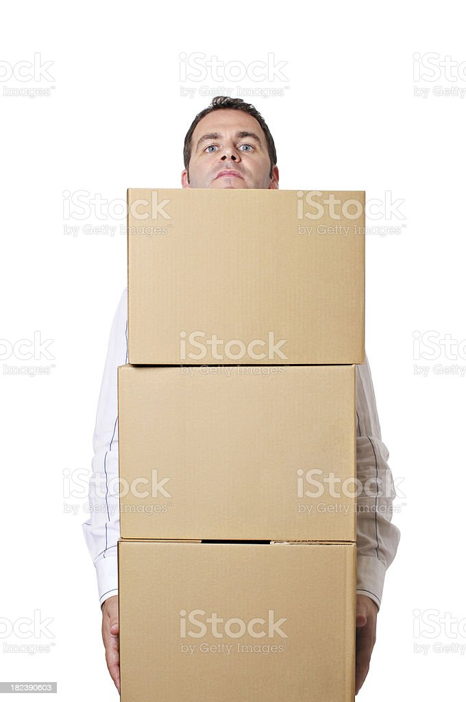 Man carrying boxes stock photo