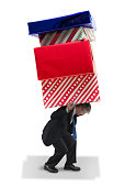 Man carrying giant gifts Christmas and birthday financial spending burden