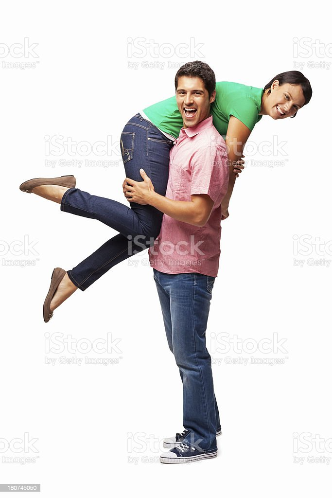 Man Carrying Girlfriend On Shoulder - Isolated royalty-free stock photo