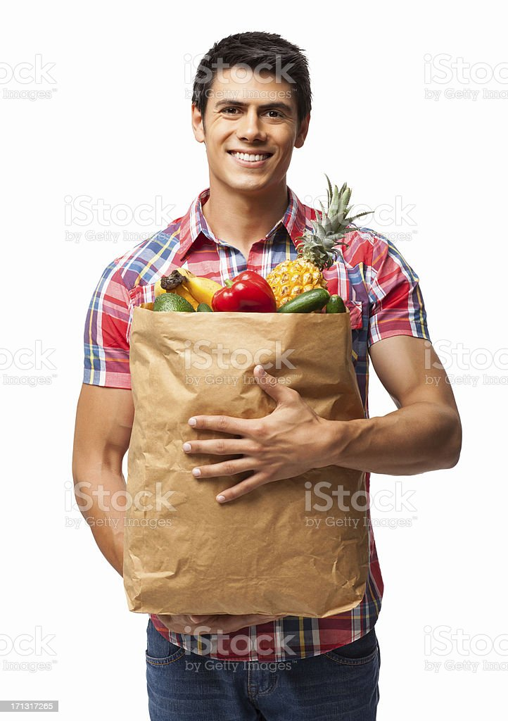 Man Carrying Grocery Bag - Isolated stock photo