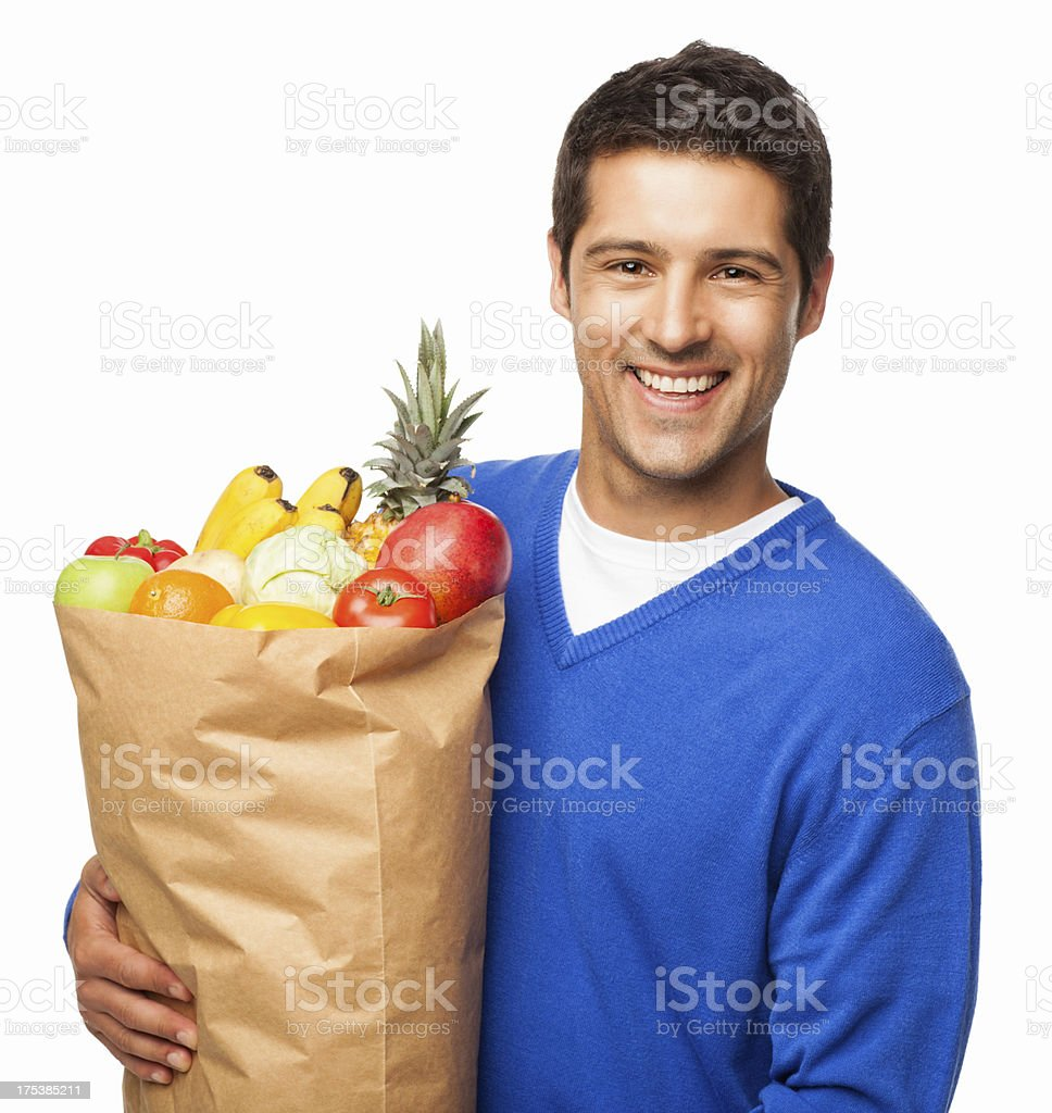 Man Carrying Large Bag Of Groceries - Isolated royalty-free stock photo