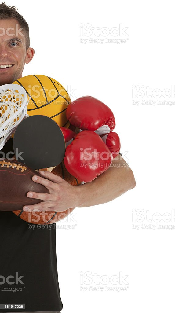 Man carrying sports equipment royalty-free stock photo