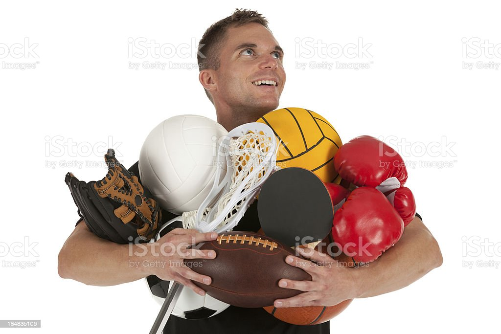 Man carrying sports equipments royalty-free stock photo