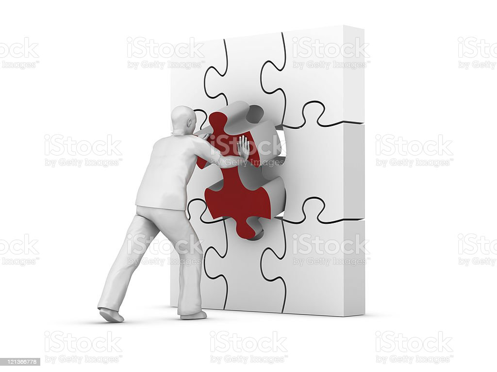 Man Carrying the Missing Piece royalty-free stock photo