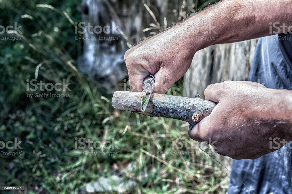 Man Carving Wooden Stick With Whittling Knife stock photo