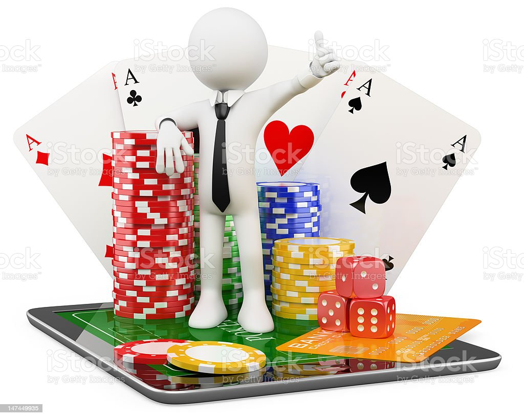 3D Man - Casino online games royalty-free stock photo