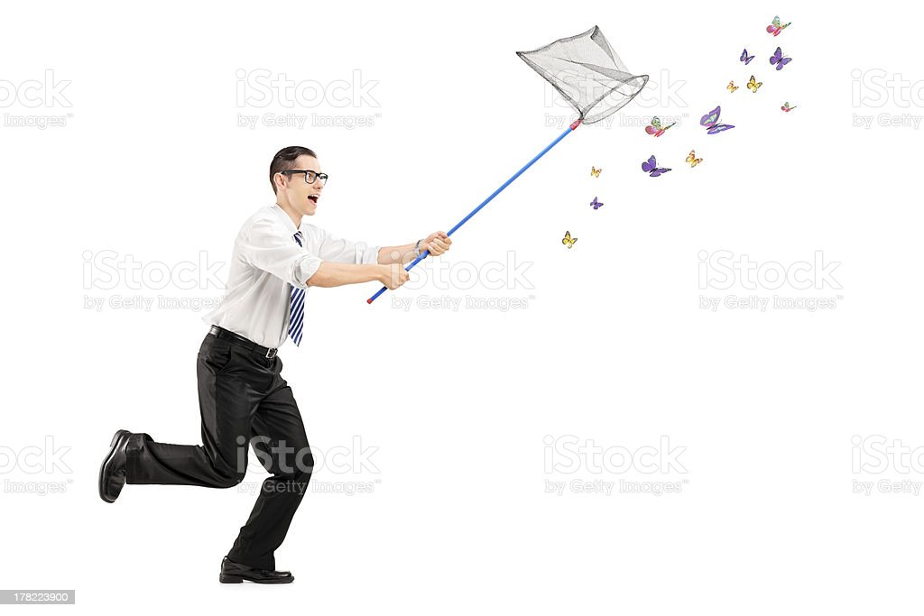 Man catching butterflies with net stock photo