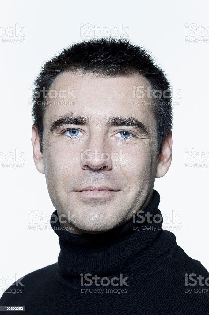 man caucasian smiling handsome portrait blue eyes stock photo