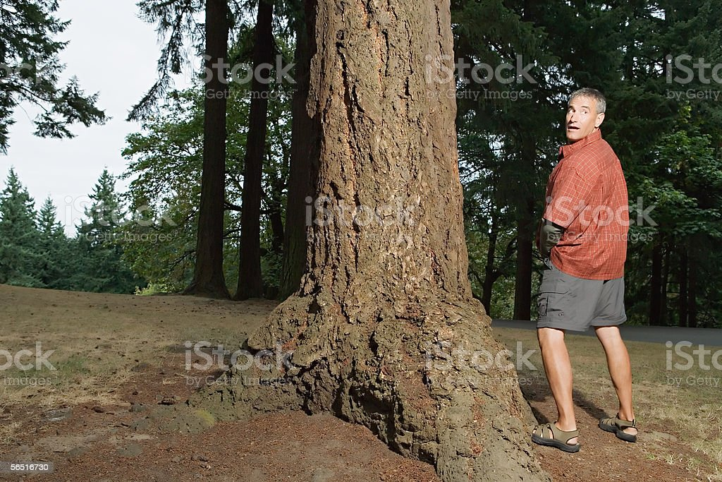 Man caught urinating in the woods stock photo