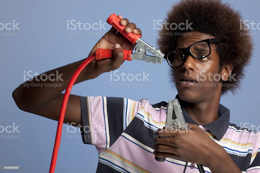 Man causing a short circuit. royalty-free stock photo