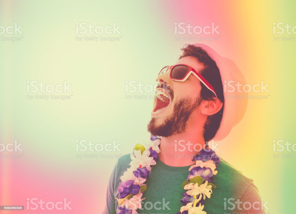 Man celebrating carnival party. stock photo