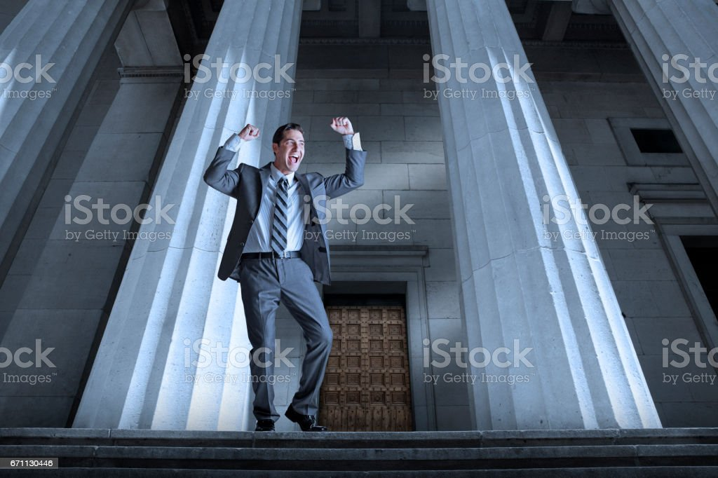 Man Celebrating Legal Victory stock photo