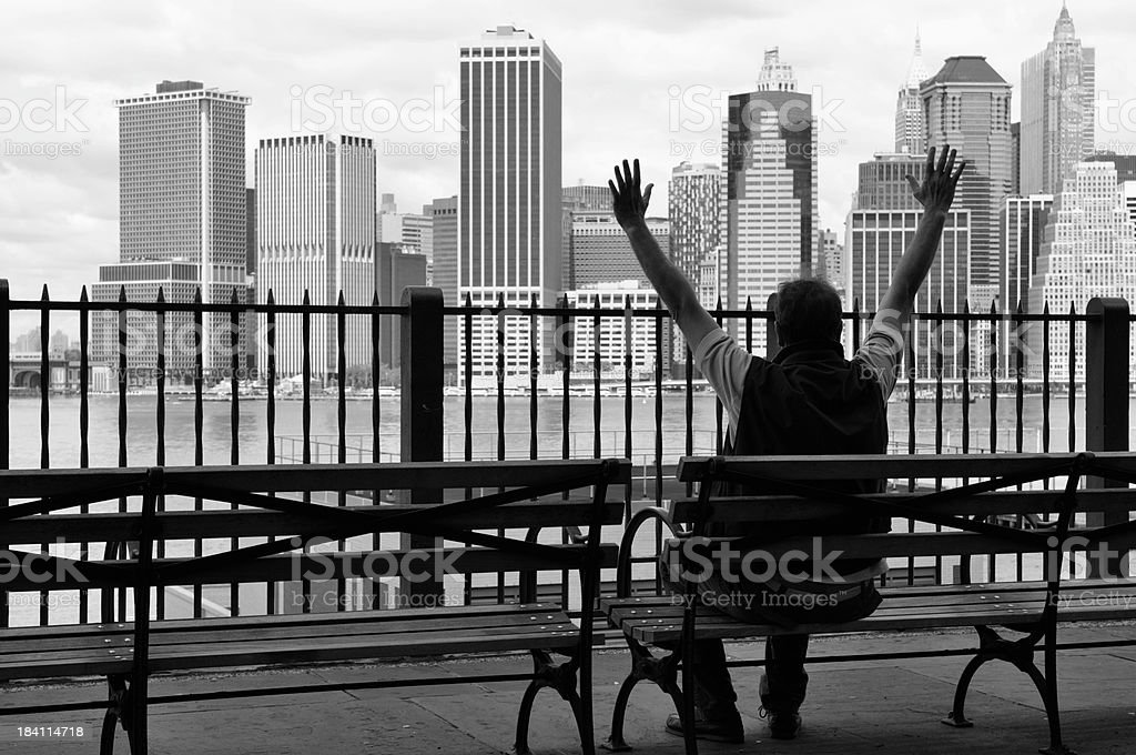Man Celebrating Success,Financial District,NYC.Black And White royalty-free stock photo