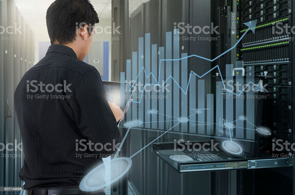 Man center use tablet for analyze system stock photo