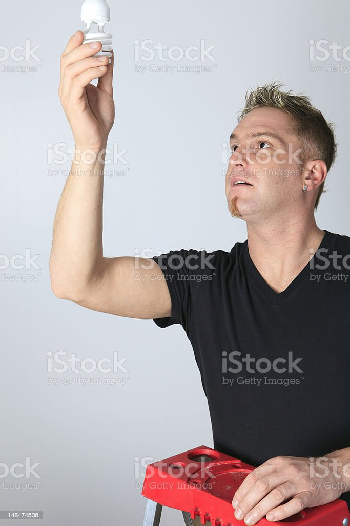 Man Change Bulb royalty-free stock photo