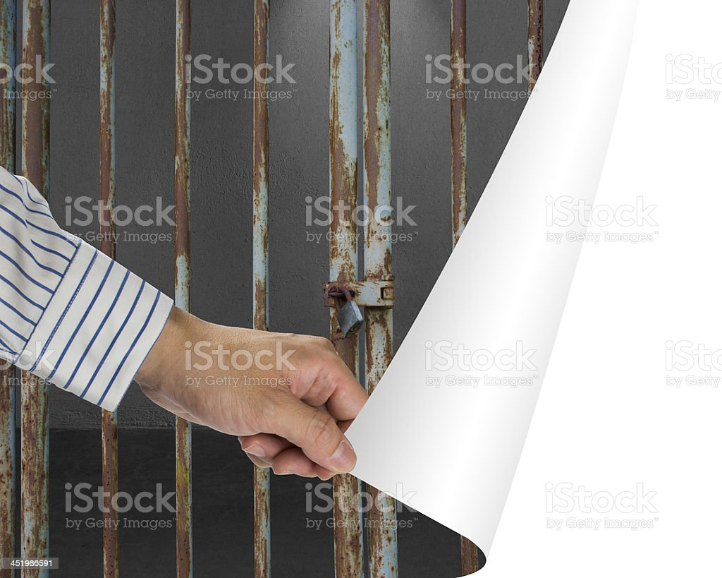 Man change locked door with dark space to white empty stock photo