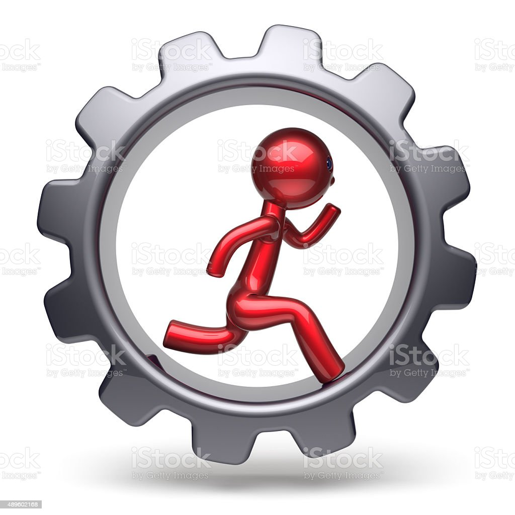Man character running inside gearwheel businessman red stock photo