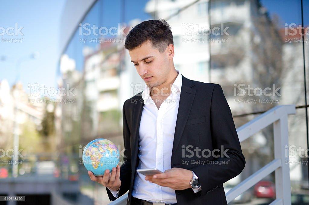 Man checking his phone stock photo
