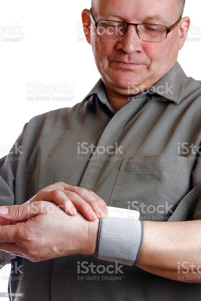 Man checking pulse stock photo