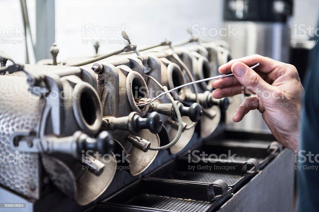 Man checking roasting coffee beans at gourmet facility stock photo