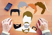 Man chooses style of haircut and beard
