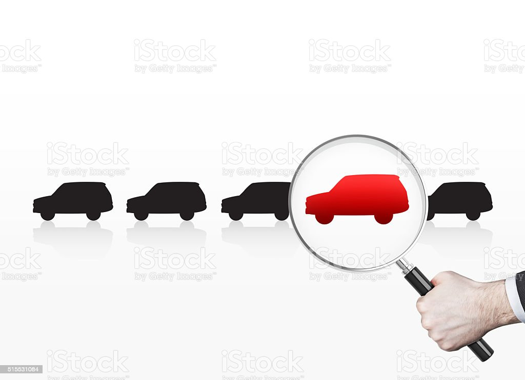 Man choosing car stock photo