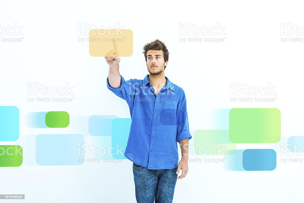 Man choosing virtual files royalty-free stock photo